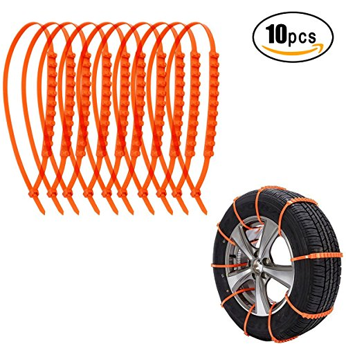 Kyerivs Anti-Skid Car Cable Tire Anti-Skid Emergency Traction Mud Snow Chains for SUV Car Van Flexible Nylon Tire for Winter Driving, 10 PCS