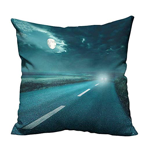 (YouXianHome Decorative Couch Pillow Cases Highway Road to Hell Under Clouds Asphalt Twilight Terror Image Work Easy to Wash(Double-Sided Printing) 20x20)