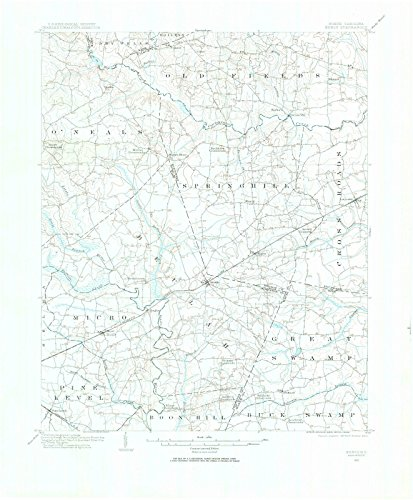 North Carolina Maps - 1902 Kenly, NC USGS Historical Topographic Map - Cartography Wall Art - 44in x 55in (Maple Grove Red Rock)