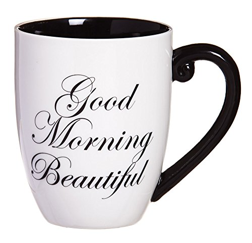 Cypress Home Good Morning Beautiful 18 Oz Black Ink Ceramic Coffee Cup (Coffee Wife For Cups)