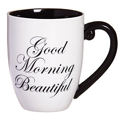 Cypress Home Black Ink Good Morning Beautiful 18 oz Ceramic