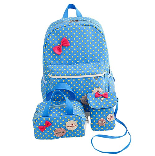 Clearance 3PC Pack School Bag Women Girls Dots Bowknot Nylon School Bag Travel Backpack+Handbag+Shoulder Bag by JOYFEEL Bag