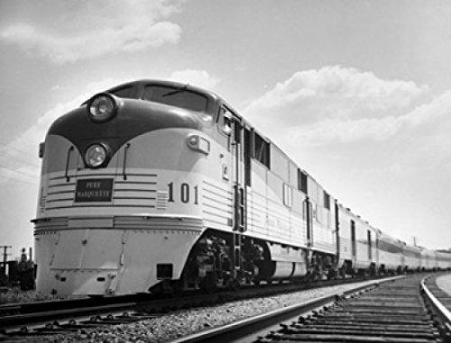Pere Marquette Railway - Train on a railroad track Pere Marquette Chesapeake and Ohio Railway Maryland USA Poster Print (24 x 36)