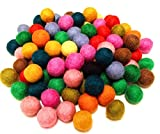 Yarn Place Felt Wool Balls - 100 Pure Wool Beads 10mm Mixed Colorful Colors