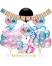 """Gender Reveal Party Supplies and Baby Shower Boy or Girl Kit (64 Pieces) - Including 36"""" Reveal Balloon, Confetti Balloons, Banner, Photo Props and More"""