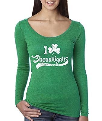Womens I Clover Shenanigans Scoopneck Triblend Funny Saint Patricks Day Shirt