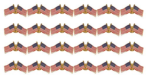 Double American Flag Lapel Pins - 24-Pack USA Pins, Patriotic US Flag Pins, Perfect Novelty for July 4th, National Days Celebrations and Daily Outfits, 0.75 x 1.5 x 0.5 Inches (Double Flag Pin)