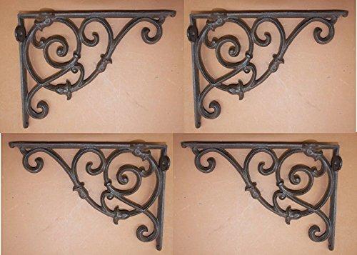 Southern Metal 4 Decorative Cast Iron Shelf Brackets 10 1/8 inches, Elegant Swirl Design Country Scroll, B-8