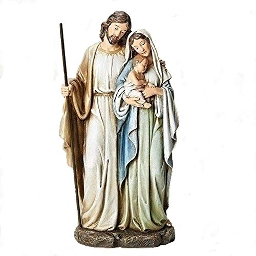 Roman Holy Family Mary Standing Holding Baby Jesus 12 Inch Resin Holiday Figurine (Family Tree Of Mary Mother Of Jesus)