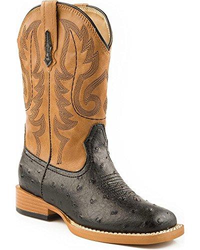 ROPER Boys' Faux Ostrich Print Cowboy Boot Black 1 US