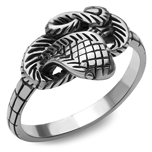 (Chuvora 925 Oxidized Sterling Silver Coiled Cobra Snake Antique Ring - Nickel Free with Gift Box Size 8)