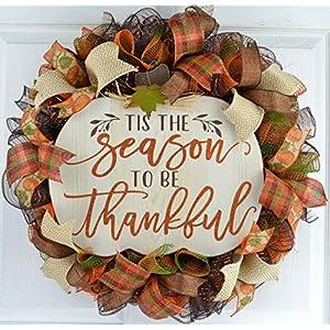 Thanksgiving Door Wreath | Tis the Season to Be Thankful Pumpkin Fall Mesh Wreath | Ivory Orange 117