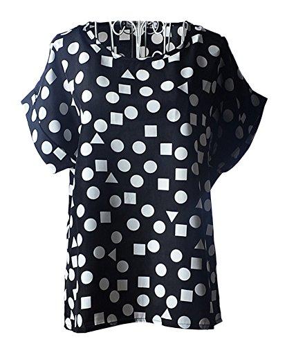 ezShe - Camisas - Manga corta - para mujer Black Geometry