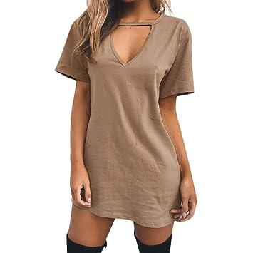 e4112f882 Amazon.com : Women Mini T Shirt Dress Summer Choker Sexy Juniors Dresses V  Neck Long Tops Dress : Beauty