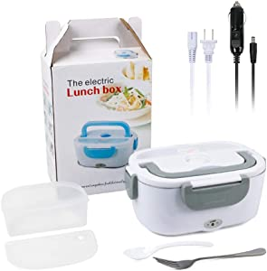 Electric Lunch Box Portable 12V & 110V Food Warmer,Removable Food-Grade Stainless Steel Food Container Food Warmer Heater with 1 Stainless Fork & 1 Spoon for Car,Office and Home