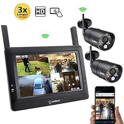 "SEQURO GuardPro DIY Long Range Wireless Video Surveillance System 7"" Touchscreen Monitor 2 Outdoor/Indoor Night Vision IP66 Weatherproof HD Network DVR Home Security IP Cameras Smartphone Access"