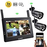 "Photo : SEQURO GuardPro DIY Long Range Wireless Video Surveillance System 7"" Touchscreen Monitor 2 Outdoor/Indoor Night Vision IP66 Weatherproof HD Network DVR Home Security IP Cameras Smartphone Access"