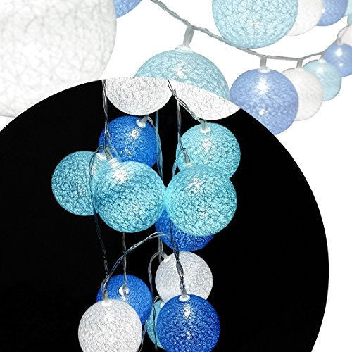 cotton ball string lights blue - 3