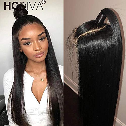 360 Lace Frontal Wig Pre Plucked With Baby Hair Brazilian Straight Lace Front Human Hair Wig 150% Remy Lace Wig For Black Women (12 inch) from HCDIVA