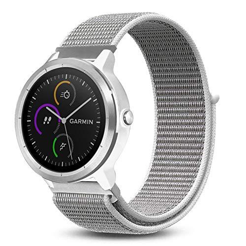 (C2D JOY for Garmin Vivoactive 3&Music/Vivomove&HR/Forerunner 645&Music Sport Loop Replacement Bands- Woven Nylon Watch Bands, No Buckle Needed, Seashell Regular(6.1-8.5in))