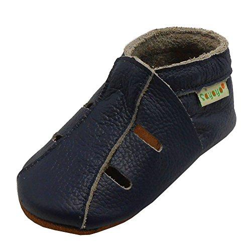 Sayoyo Baby Soft Sole Leather Infant Toddler Prewalker Navyblue Shoes Sandal(6-12 months)