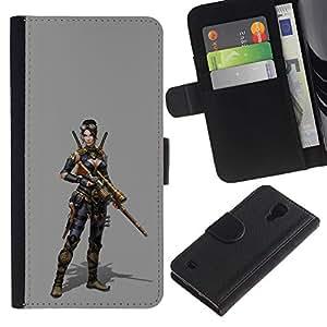 For Samsung Galaxy S4 IV I9500 Case , Woman Pc Game Character Fighter War - la tarjeta de Crédito Slots PU Funda de cuero Monedero caso cubierta de piel