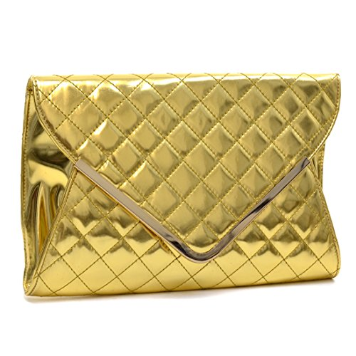 Dasein Fold Over Quilted Patent Clutch with Removable Shoulder Strap