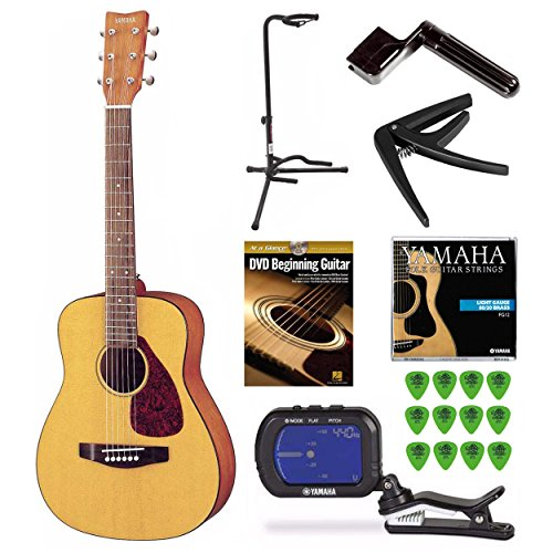 Rosewood Guitar Stand - Yamaha JR1 3/4 Scale Guitar with Stand, Tuner, Picks and Beginning Guitar DVD