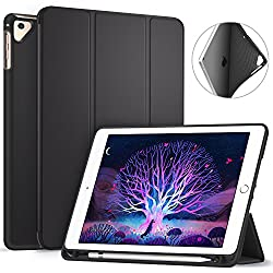 Ztotop Newest iPad 9.7 Inch 2018 Case with Pencil Holder - Lightweight Soft TPU Back Cover and Trifold Stand with Auto Sleep/Wake, for Apple iPad 6th Generation(A1893/A1954), Black