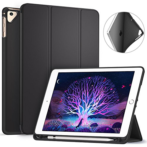 Ztotop Newest iPad 9.7 Inch 2018 Case with Pencil Holder -Lightweight Soft TPU Back Cover and Trifold Stand with Auto Sleep/Wake, Protective for iPad 6th Generation(A1893/A1954), Black