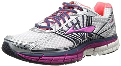Brooks Women's Adrenaline GTS 14 White/Fuchia/Midnight Running Shoe 5 Women US