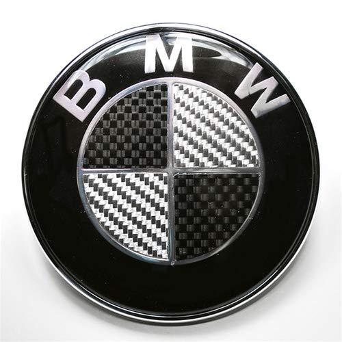 (Keep Real BMW Emblem 82mm Hood/Trunk Logo Replacement 2pin for ALL Models BMW LOGO DECAL E30 E36 E46 E34 E39 E60 E65 E38 X3 X5 X6 3 4 5 6 7 8 Series (82MM, Black-Carbon))