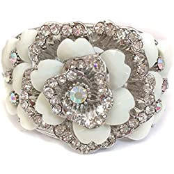 White Rose Rhinestone Silver Tone Hinged Bracelet