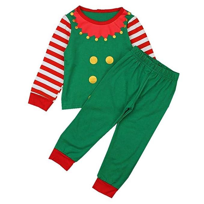 Family Kids Mathced Christmas Pajama Set Long Striped Sleeve Elf Top with  Long Pant (Green f8f5a6da9