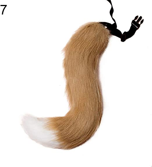 HALLOWEEN FAUX FUR FOX TAIL COSPLAY FURRY WOLF DOG ADJUSTABLE PARTY COSTUME ORNA