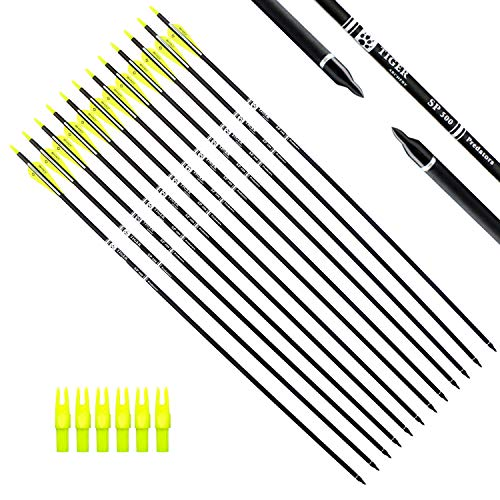 Tiger Archery 30Inch Carbon Arrow Practice Hunting Arrows with Removable Tips for Compound & Recurve Bow(Pack of 12) (Yellow White)