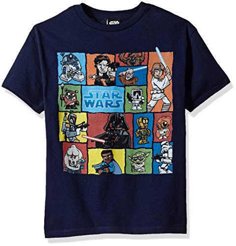 Price comparison product image Star Wars Big Boys' Cartoon Geometric Character Groupage Graphic Tee, Navy, YM