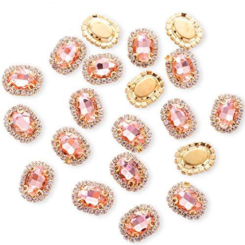 (30Pcs Crystal Rhinestones Sewing on, Premium Rose Gold Flatback Beads Buttons with Bling Diamonds, DIY Crafts Gems for Clothing, Bags, Shoes, Dress, Wedding Party Decoration (Oval Rose Gold))