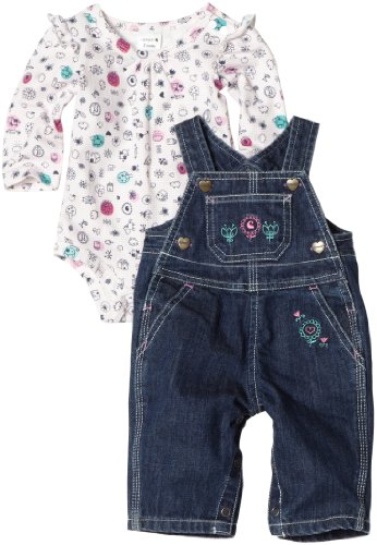 Carhartt Baby Girls' Washed Denim Bib Overall Set