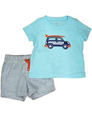 Carters Infant Boys 2 Piece Blue Surf Car T-Shirt & Striped Shorts Set