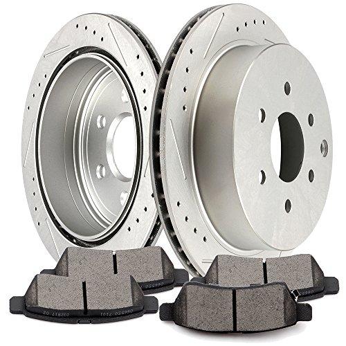 SCITOO Brake Kits, 2pcs Slotted Drilled Brake Discs Rotors and 4pcs Ceramic Disc Brake Pads Brakes Kit fit 2005-2016 Nissan Frontier,2005 2008-2015 Nissan Xterra,2009-2012 Suzuki ()
