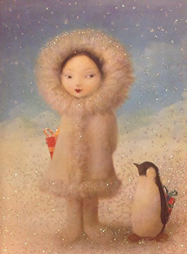 Elegant Glitter Accent Secret Santa Eskimo Girl with Penguin and Gifts Holiday Cards - 3.5 X 5 Inch Red Envelopes- (12) -