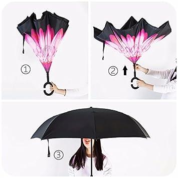 zhudj doble plegable doble Reverse Reverse Creative paraguas grande coreano pequeño fresco personalidad hembra doble uso