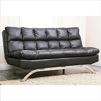 Abbyson Living Madison Black Leather Euro Lounger Sofa