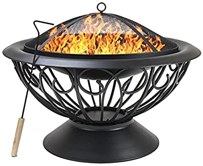 "Sorbus Fire Pit 30"" Outdoor Fireplace, Backyard Patio Fire Bowl, Safety Mesh Cover and Poker Stick, Stylish Decorative Scroll Base, Great for Outdoor Heating, Bonfire, Grill, Picnic, Campfire"