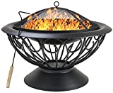 "Sorbus Fire Pit Large, 30"" Outdoor Fireplace, Backyard Patio Fire Bowl, Safety Mesh Cover and Poker Stick, Stylish Decorative Scroll Base, Great for Outdoor Heating, Bonfire, Grill, Picnic, Campfire"