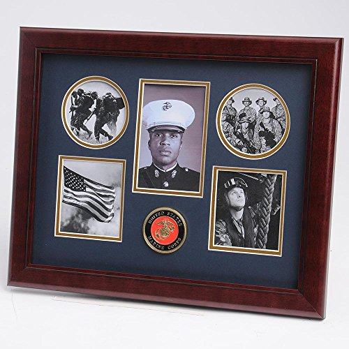 (Allied Frame United States Marine Corps Medallion 5 Picture Collage Frame with)