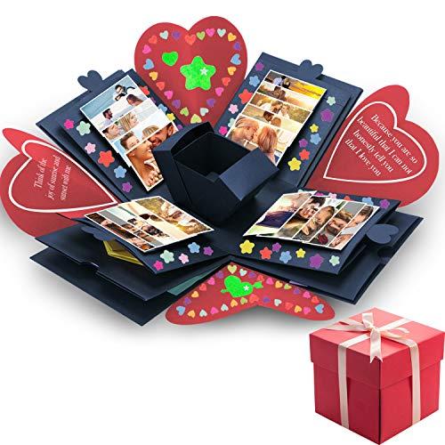 Tatuo Creative Gift Box Memory DIY Scrapbook Photo Album for Christmas Birthday Anniversary Valentine Day Wedding (Red with Navy Blue)