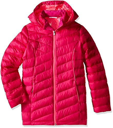 Spyder Girls Timeless Long Synthetic Down Jacket, X-Small, Voila/Bryte Bubblegum by Spyder