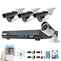 Tecbox AHD Home Security Camera System 4 Channel DVR with 1TB Hard Drive and 4 Weatherproof 1.3MP 60feet Night Vision Remote View Motion Detection Day/Night Surveillance Cameras